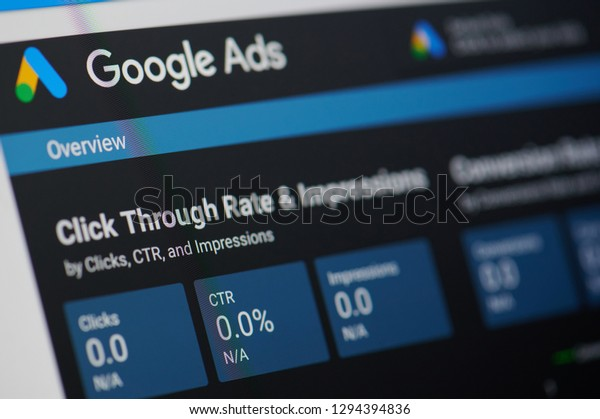 New york, USA - january 24, 2019: Google ads menu on device screen pixelated close up view