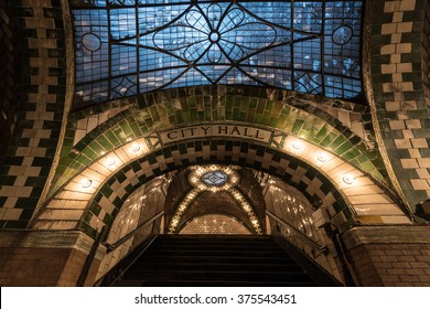 New York, USA - January 30, 2016: City Hall Subway Station in Manhattan. Landmark station built in 1904 to inaugurate the NYC Subway system.