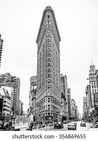 New York, New York, USA - January 4, 2015: Historic Flatiron Building in NYC. This iconic triangular building located in Manhattan's Fifth Ave was completed in 1902.
