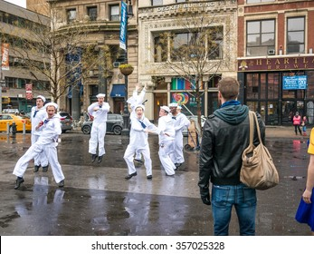 NEW YORK, USA - JANUARY 4, 2015: A group of people dancing on the street and recording a video in Union Square.