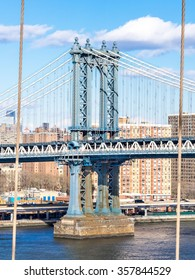 NEW YORK, USA - JANUARY 5, 2015: The Manhattan Bridge is a suspension bridge that crosses the East River in New York City.