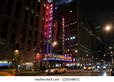 New York, USA – January 9, 2011: Horizontal night view of the Radio City Music Hall at 6th Ave