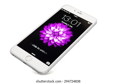 New York, USA - July 05, 2015: Front view of a  silver-white  color iPhone 6 showing the home screen with iOS8. Isolated on white.