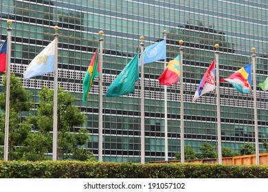 NEW YORK, USA - JULY 1, 2013: Flags in front of United Nations building in New York. UN is a peace keeping organization with 193 member states.