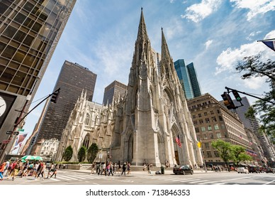 NEW YORK, USA - JULY 10, 2017: St. Patrick's Cathedral 5th avenue, Manhattan, NYC