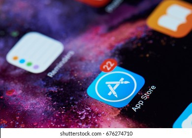 New york, USA - July 11, 2017:App store icon on screen of tablet close-up. Mobile application icon of app store