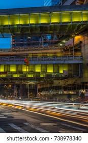 New York, USA - July 12, 2017 - Port Authority Bus Terminal exterior at night in Manhattan, New York