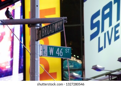 New York, New York / USA - July 13, 2010: A street sign depicting the corner of Broadway and West 46th Street in New York City's famous Times Square at night with brightly lit commercial billboards.