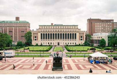NEW YORK, USA - JULY 13, 2016: life in Columbia University. Free book fair - you can take any books from volunteers.