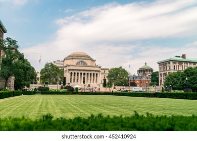 NEW YORK, USA - JULY 13, 2016: life in Columbia University. Free book fair and open door day - you can take any books from volunteers.