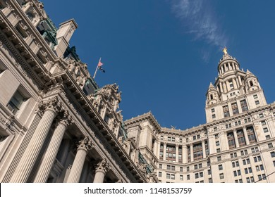 New York, USA - July 20, 2018 - David N. Dinkins Municipal Building and Surrogate's Court, NYC Municipal Archives in Manhattan, NY