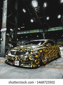 New York / USA - July 20 2019: Camouflage Honda with Bape print