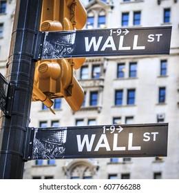 NEW YORK, USA - JULY 20: Wall Street street signs in Manhattan, New York, USA on July 20, 2009.