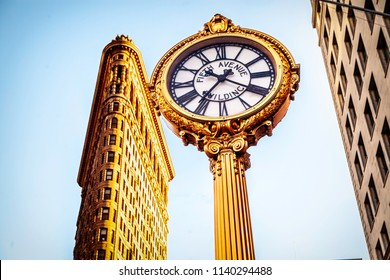 New York USA July 2018 Flatiron building with clock in focus