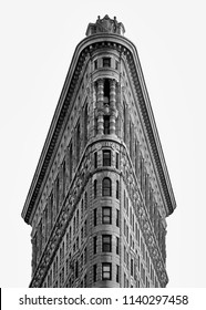 New York  USA July 2018 - Architecture details Flatiron building isolated on white