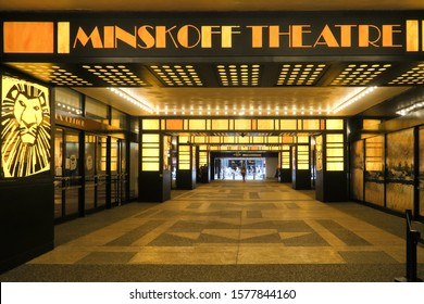 New York, USA - july 2019 : entrance to the Minskoff Theatre