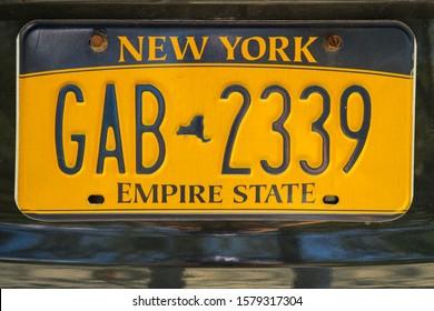 New York, USA - July 2019 : New York car registration plate