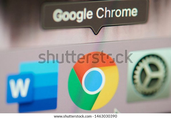 New york, USA - july 26, 2019: Start google chrome application on computer macro close up view in pixel screen