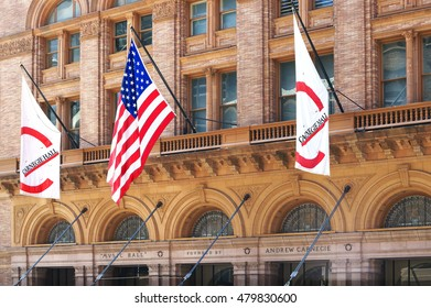 NEW YORK, USA - JULY 27, 2016: Flags at Carnegie Hall building