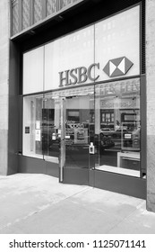 NEW YORK, USA - JULY 3, 2013: HSBC Bank branch on in New York. HSBC is one of largest bank groups, holding assets of $2.69 trillion worldwide (2012).