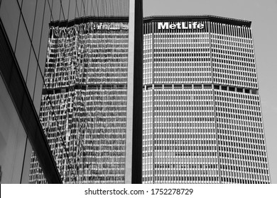 NEW YORK, USA - JULY 3, 2013: MetLife Building exterior in Park, Avenue, New York. MetLife Building is 808 ft (246 m) tall and is among 50 tallest skyscrapers in the US.
