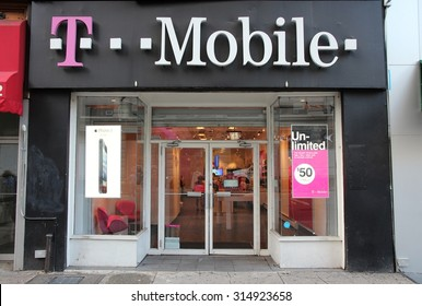 NEW YORK, USA - JULY 3, 2013: T-Mobile cellular operator shop in New York. T-Mobile US has 58.9 million customers (2015).