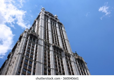NEW YORK, USA - JULY 5, 2013: Woolworth Building exterior view in New York. Woolworth Building was the tallest in the world from 1913 to 1930.