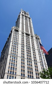 NEW YORK, USA - JULY 7, 2013: Woolworth Building exterior view in New York. Woolworth Building was the tallest in the world from 1913 to 1930.