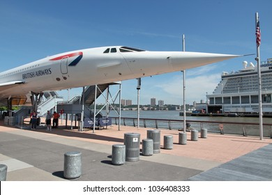 NEW YORK, USA - JULY 7, 2013: People visit Concorde at Intrepid Sea, Air and Space Museum in New York. The museum is located onboard USS Intrepid, retired aircraft carrier.