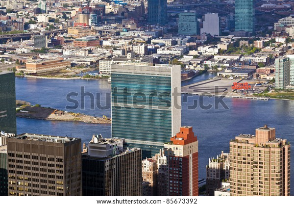 NEW YORK, USA - JULY 7: Facade of the UN Headquarter in the afternoon in bright sun on July 7,2010 in New York, Construction of the Headquarter started in september 1949 and was completed in 1950.