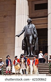 NEW YORK, USA  - JULY 9: Ceremony for declaration of independence in old costumes takes place at the Washington statue in front of federal Hall National Memorial  on July 9,2010 in New York, USA.