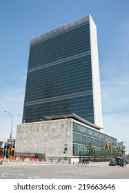 NEW YORK, USA - Jun 01, 2014: United Nations Building in New York is the headquarters of the United Nations organization.