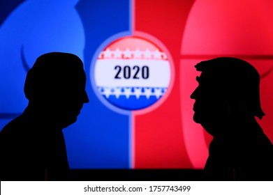 NEW YORK, USA, JUN 17, 2020: Silhouette of republican candidate Donald Trump and democratic candidate Joe Biden. 2020 United States presidential election. US vote, Concept photo for November 3, 2020