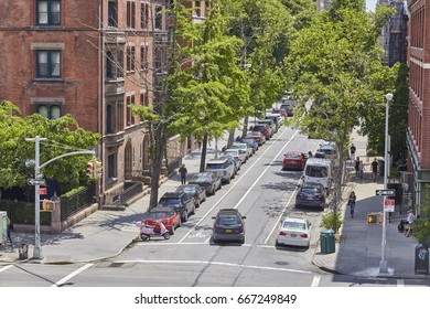 New York, USA - June 02, 2017: Quiet street in Chelsea Historic District, an elegant residential neighborhood in the city.