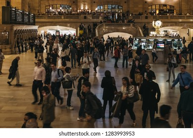 New York, USA - June 1, 2018: People walking inside Grand Central Terminal, a world-famous landmark and transportation hub in Midtown Manhattan, New York, USA.