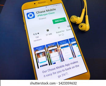 New York, U.S.A. June 12, 2019 - Chase Mobile application on smartphone screen. Chase mobile app is banking service app by JP Morgan Chase.