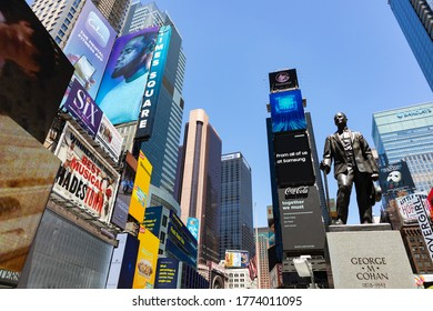 New York, New York / USA - June 12 2020: George M. Cohan Statue in Times Square of New York City