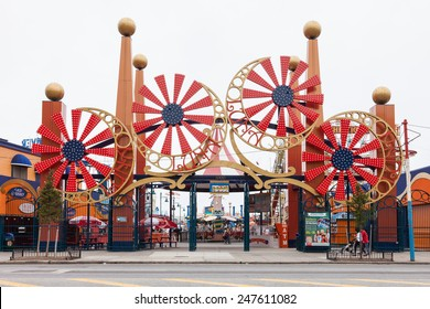 NEW YORK, USA - JUNE 12, 2014: Coney Island's fairground attraction. Coney Island Luna Park has every year about 450,000 visitors with over 1.7 million rides.