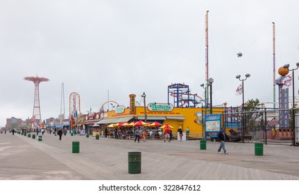 NEW YORK, USA - June 12, 2014: The Nathan's reopened after damage by Hurricane Sandy on April 9, 2013 at Coney Island Boardwalk. The original Nathan's still exists on the same site that it did in 1916