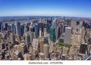 NEW YORK - USA, JUNE 13 2016: New York City Manhattan, panorama aerial view, Architectural modern buildings at lower Manhattan. Skyline view at New York City - United States of America.