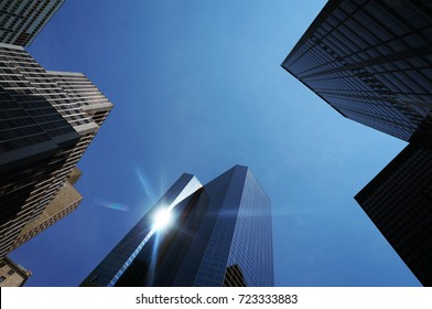 New York, USA - June 14, 2015: Skyscrapers of New York City. Details in a non-standard perspective.