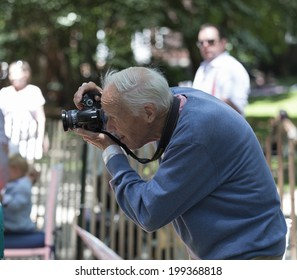 New York, USA - June 15, 2014: New York Times photographer Bill Cunningham attends 9th annual Jazz Age lawn party by Michael Arenella & the Dreamland Orchestra on Governors Island