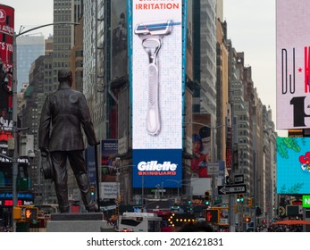 New York, USA - June 17, 2019: Image of the George M. Cohan statue on Times Square.