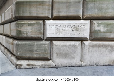New York, USA - June 18, 2016: Federal Reserve Bank sign on building exterior