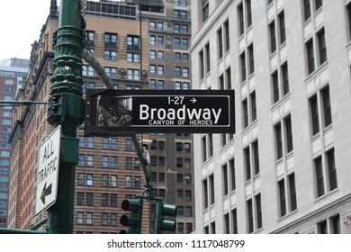 New York, New York, USA - June 19, 2018: Broadway Street Sign
