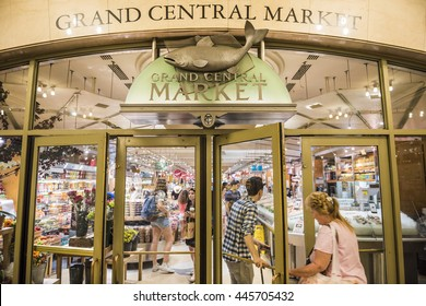 New York, USA - June 19, 2016: Entrance to Grand Central Market in New York City with sign and fish symbol