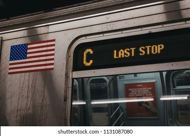 New York, USA - June 2,  2018: Last stop train announcement on C Line in New York. New York City Subway is one of the world's oldest public transit systems.