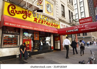 New York, New York, USA - June 2, 2011: The Carnegie Deli in New York City is famous for its incredibly delicious and amply stuffed corned beef and pastrami sandwiches as well as other deli favorites.