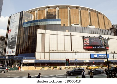 New York, New York, USA - June 20, 2011: Madison Square Garden as seen from 8th Avenue in Manhattan. Madison Square Garden is a famous sports and entertainment venue above Penn Station NYC.