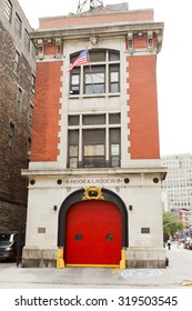 New York, New York, USA - June 20, 2011: Hook and Ladder 8 is the firehouse made famous in the film Ghostbusters. It is located in the Tribeca section of lower manhattan.
